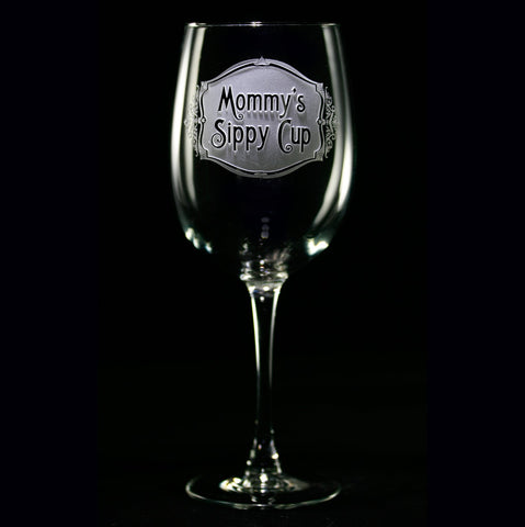 Engraved Mommy's Sippy Cup Wine Glass