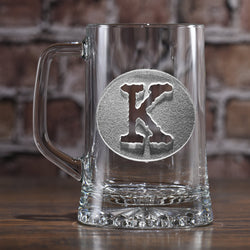 Typewriter Font in Circle. Engraved Beer Mug