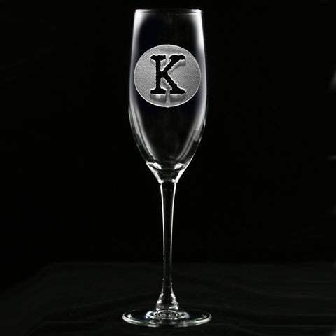 Initial Circle Engraved Champagne Flute