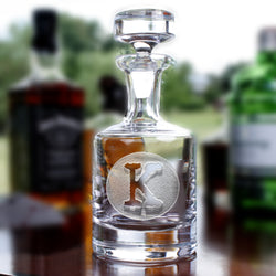 Circle Initial Whiskey Scotch Decanter