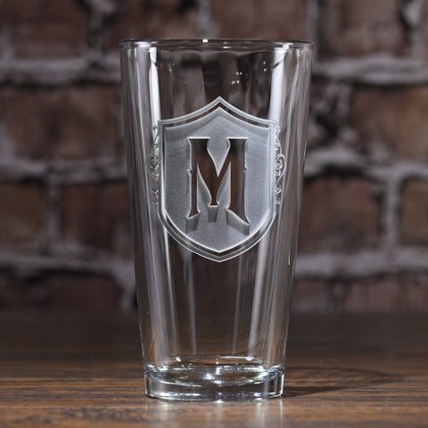 Engraved Shield Monogram Pint Pub Glass