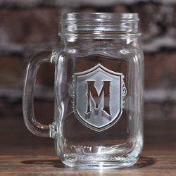 Engraved Shield Mason Jar