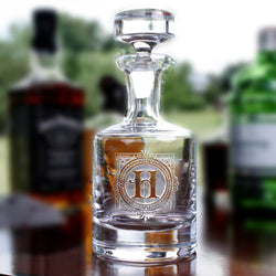 Monogrammed Engraved Scotch. Whiskey Decanter