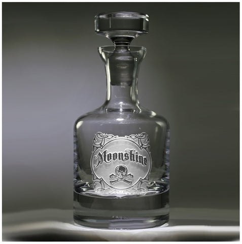 Engraved Moonshine Whiskey Scotch Bourbon Decanter