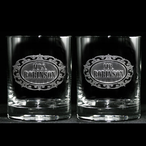 Mr. and Mrs. Personalized Engraved Scotch Whiskey Glass Set