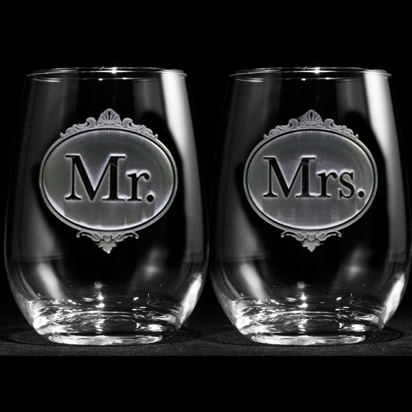 Engraved Mr And Mrs Stemless Wine Glasses Crystal Imagery