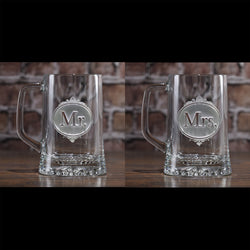 Mr. and Mrs. Engraved Beer Mug Set