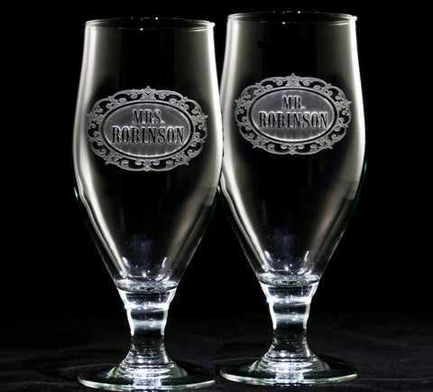 Mr. and Mrs. Personalized Engraved Goblet Set