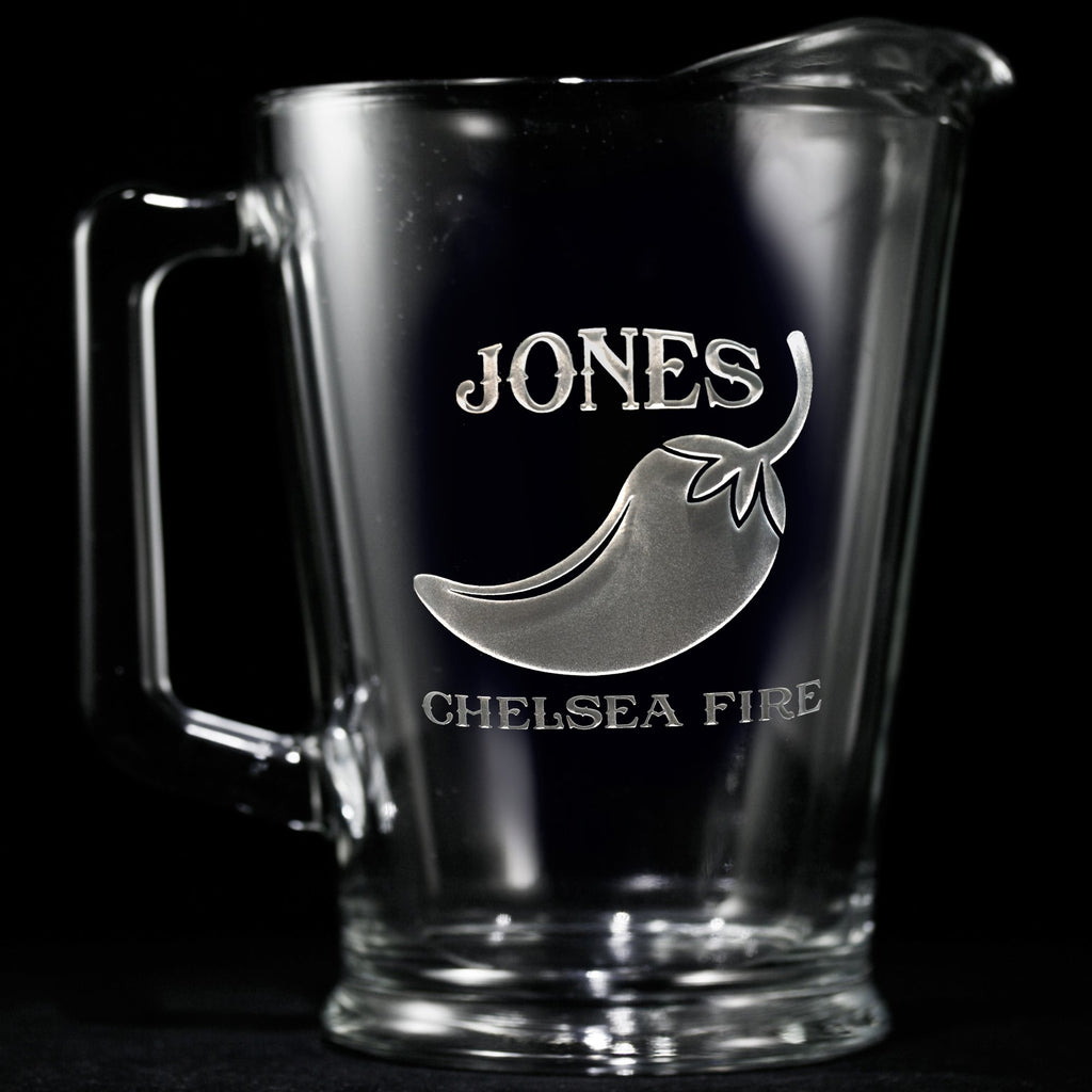 Logo Beer Pitchers. Engraved