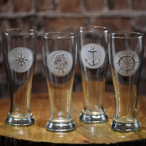 Nautical Pilsner Beer Glasses