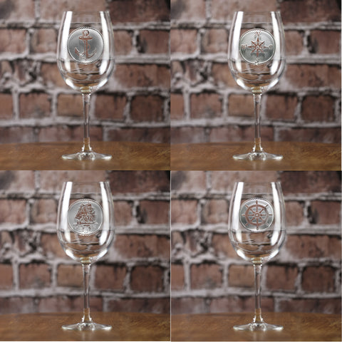 Nautical Beach Wine Glasses