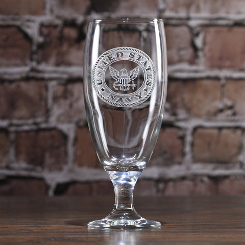 Navy Engraved Water Iced Tea Goblet