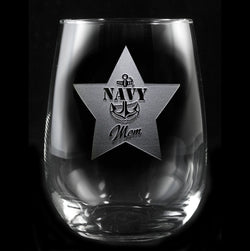 Navy Mom Stemless Wine Glass Gifts