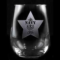 Navy Wife Stemless Wine Glass