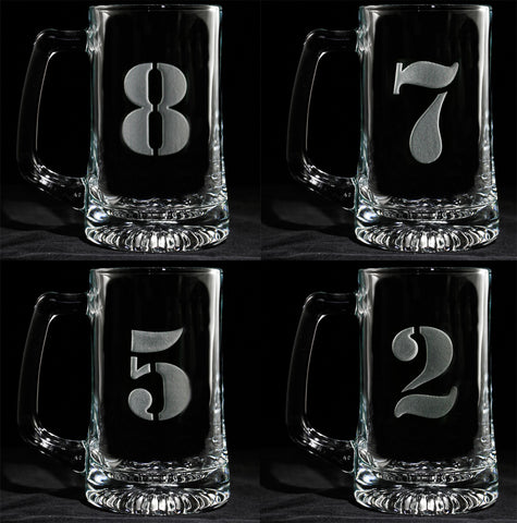 Engraved Numbered One through Eight Beer Mug Set