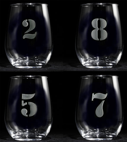 Engraved Numbered 1 thru 8 Stemless Wine Glass Set