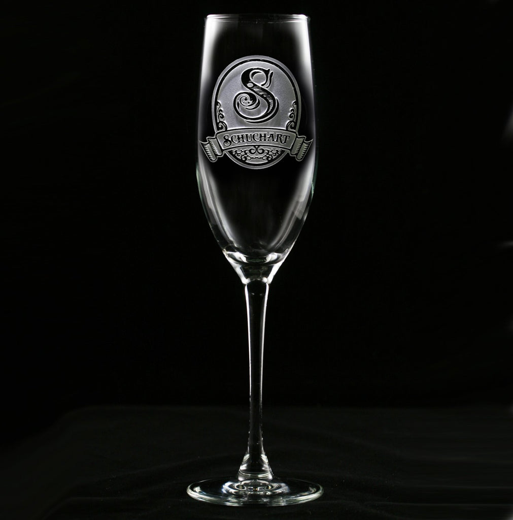 Monogrammed Engraved Champagne Glass Personalized Wedding Gifts
