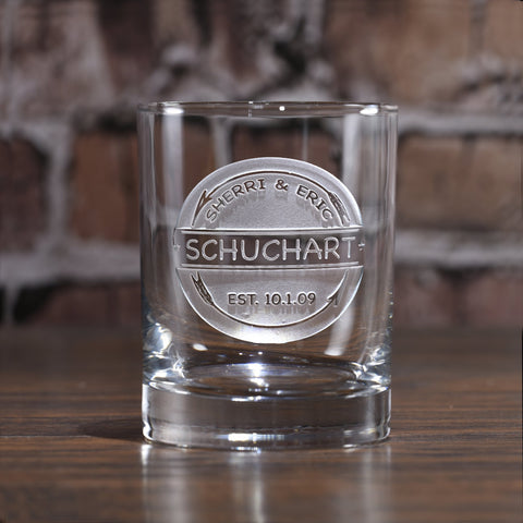 Personalized Rocks Whiskey Glass Rustic Arrows