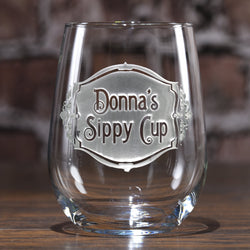 Personalized Sippy Cup Stemless Wine Glass