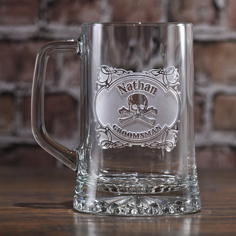 Skull and Bones Groomsman Beer Mug