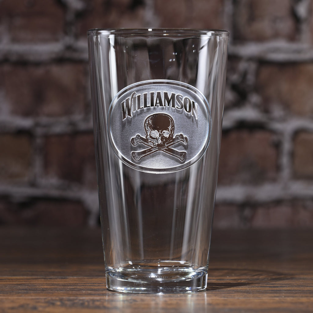 Personalized Skull and Bones Pub Glass