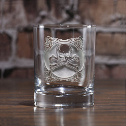 Engraved Skull and Bones Whiskey Glass