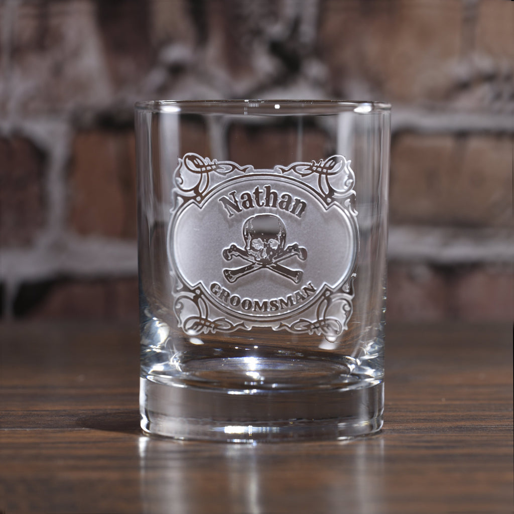 Skull and Bones Whiskey Bourbon Rocks Glass