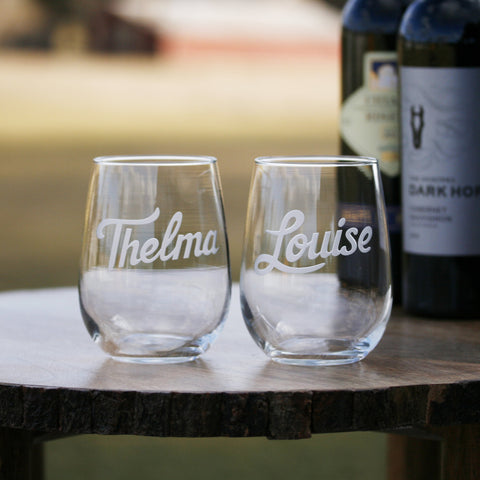 Thelma & Louise Engraved Wine Glass Set. Stemless