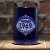 Vintage Year Birthday Blue Recycled Wine Bottle Glass Tumbler