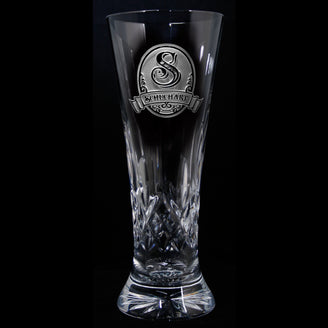 Engraved Waterford Crystal Pilsner. PAIR
