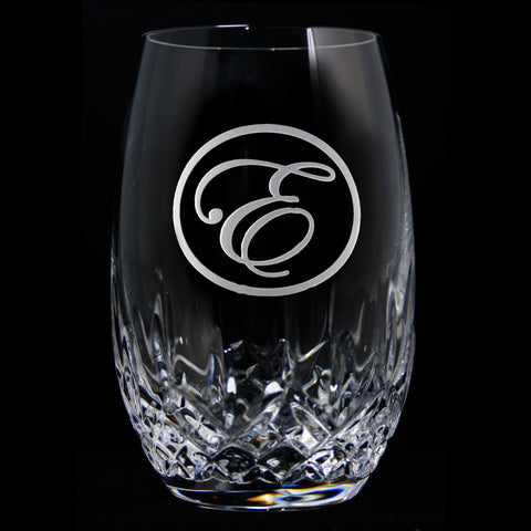 Engraved Crystal Stemless Wine. PAIR