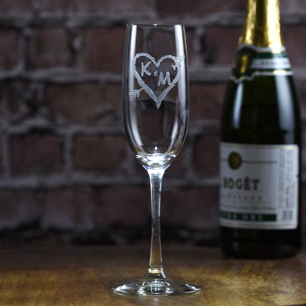 Heart and Arrow Champagne Glass Flute