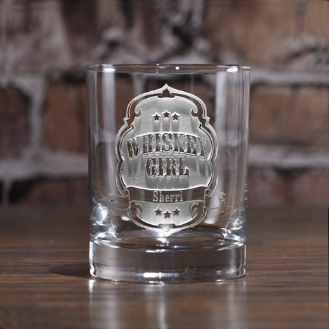 Whiskey Girl Engraved Whiskey Glass