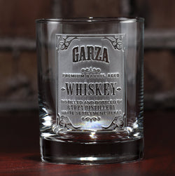 Whiskey Label Engraved Bar Glass