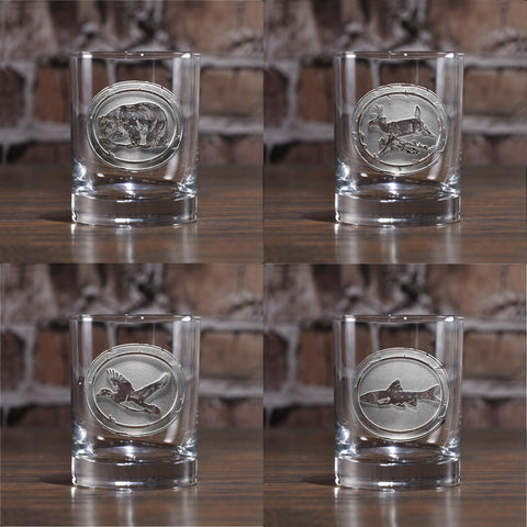 Engraved Wildlife Whiskey Glass Set