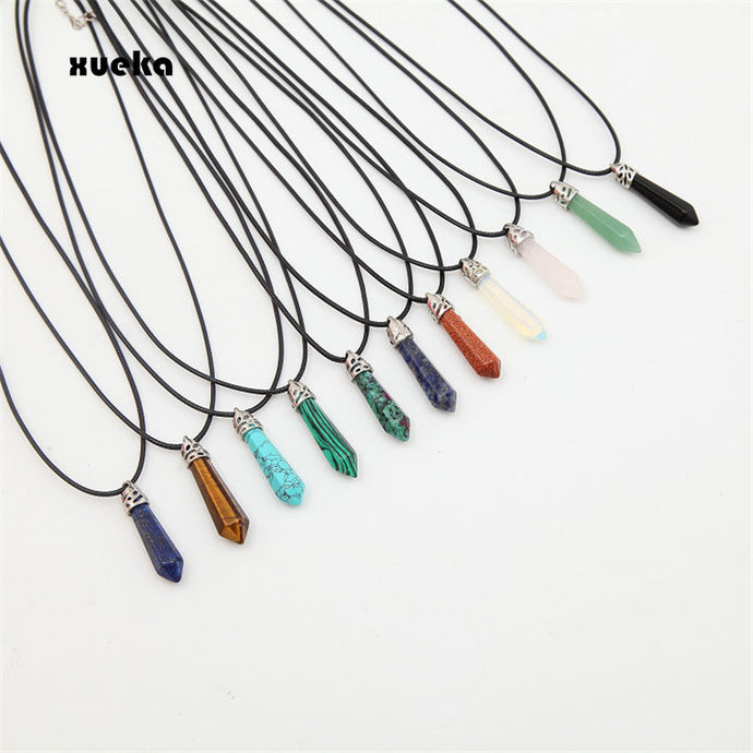 Natural Quartz Pendant Stone Hexagonal Pillar Pendants Necklace Chakra Healing Crystal Point Gem Necklaces For Women Jewelry
