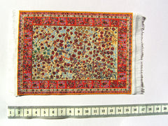 SMALL Dolls house Turkish RUG/ CARPET [3C]  flowers/ birds 12th or 24th scale