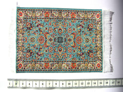 SMALL Dolls house Turkish RUG/ CARPET [7C] turquoise/brown 12th or 24th scale