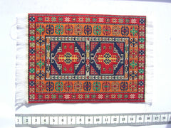 SMALL Dolls house Turkish RUG/ CARPET [9C] red/orange 12th or 24th scale