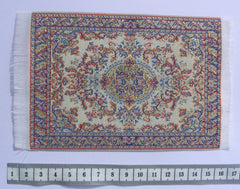 SMALL Dolls house Turkish RUG/ CARPET [cream/blue/gold]  12th or 24th scale