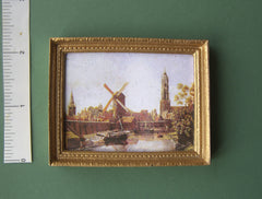 Landscape picture 'Windmill and boat on river' doll house miniature PICTURE SALE