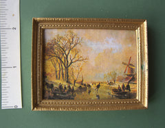 Landscape dolls house miniature PICTURE 'Skaters at Sunset' SALE