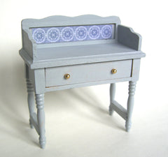 Painted Washstand with blue tile effect dolls house bathroom bedroom 12th scale