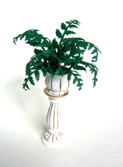 Large Victorian FERN IN Tall white and gold  Planter 1:12