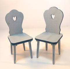 TWO Painted Kitchen 'Heart' CHAIRS   blue /dark blue shabby chic 12th scale