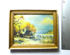 Landscape WINTER SCENE with skaters dolls house miniature PICTURE SALE
