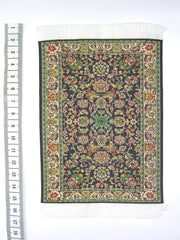SMALL Dolls house Turkish RUG/ CARPET [8C] black/green 12th or 24th scale