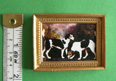 PICTURE '2 HOUNDS in beaded frame'