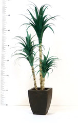 large 3 STEM YUCCA in BROWN RESIN POT Handmade for garden, conservatory, Dolls house