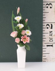DOLLS HOUSE VASE OF FLOWERS [PINK] SALE